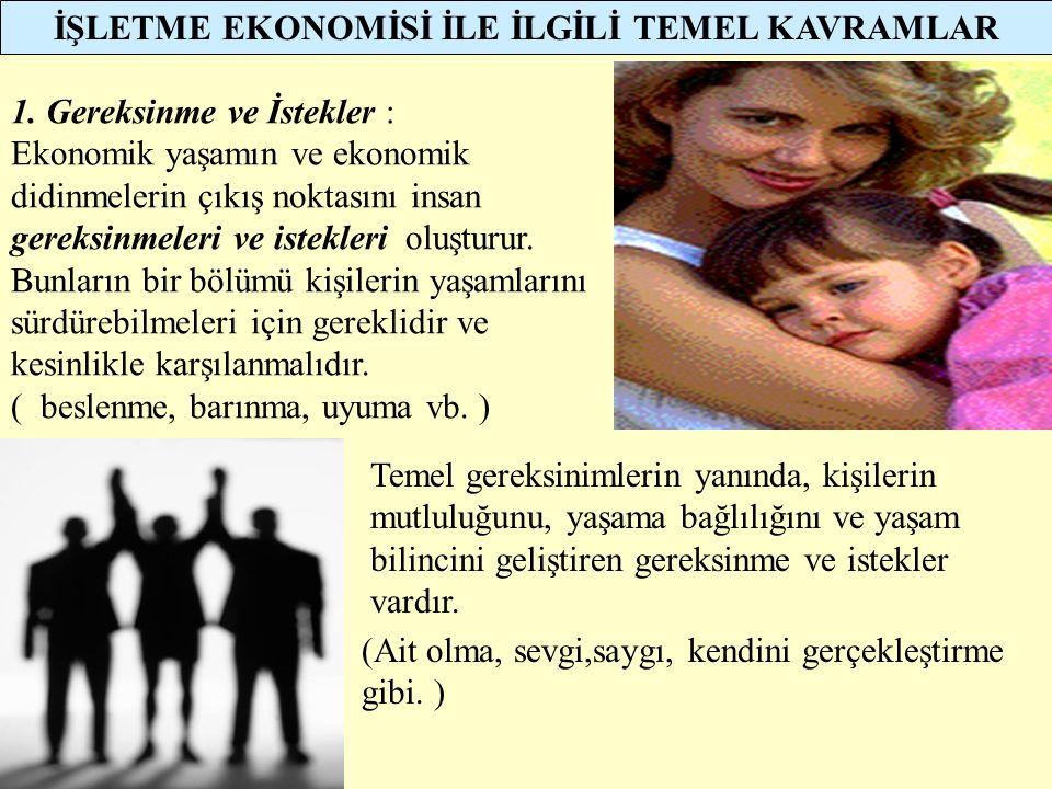 İŞLETME EKONOMİSİ İLE İLGİLİ TEMEL KAVRAMLAR