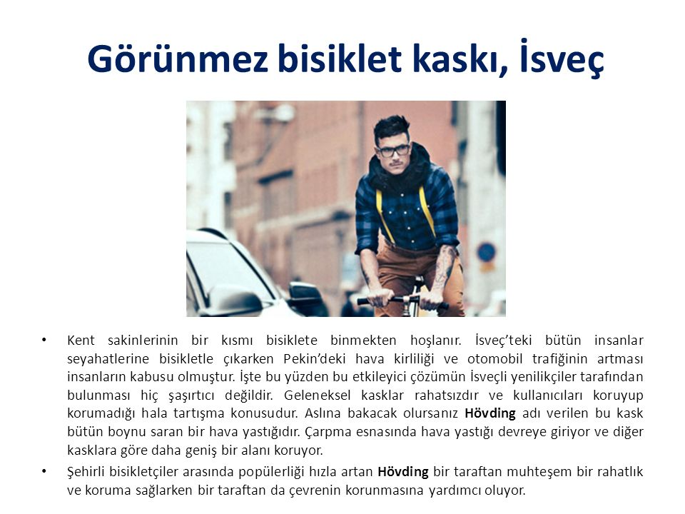 Görünmez bisiklet kaskı, İsveç