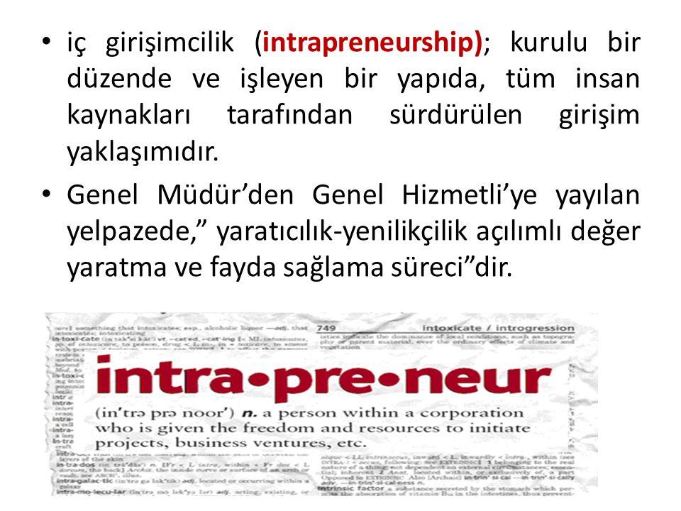 iç girişimcilik (intrapreneurship); kurulu bir düzende ve işleyen bir yapıda, tüm insan kaynakları tarafından sürdürülen girişim yaklaşımıdır.
