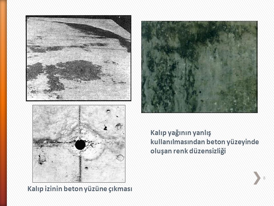 Kalıp yağının yanlış kullanılmasından beton yüzeyinde oluşan renk düzensizliği