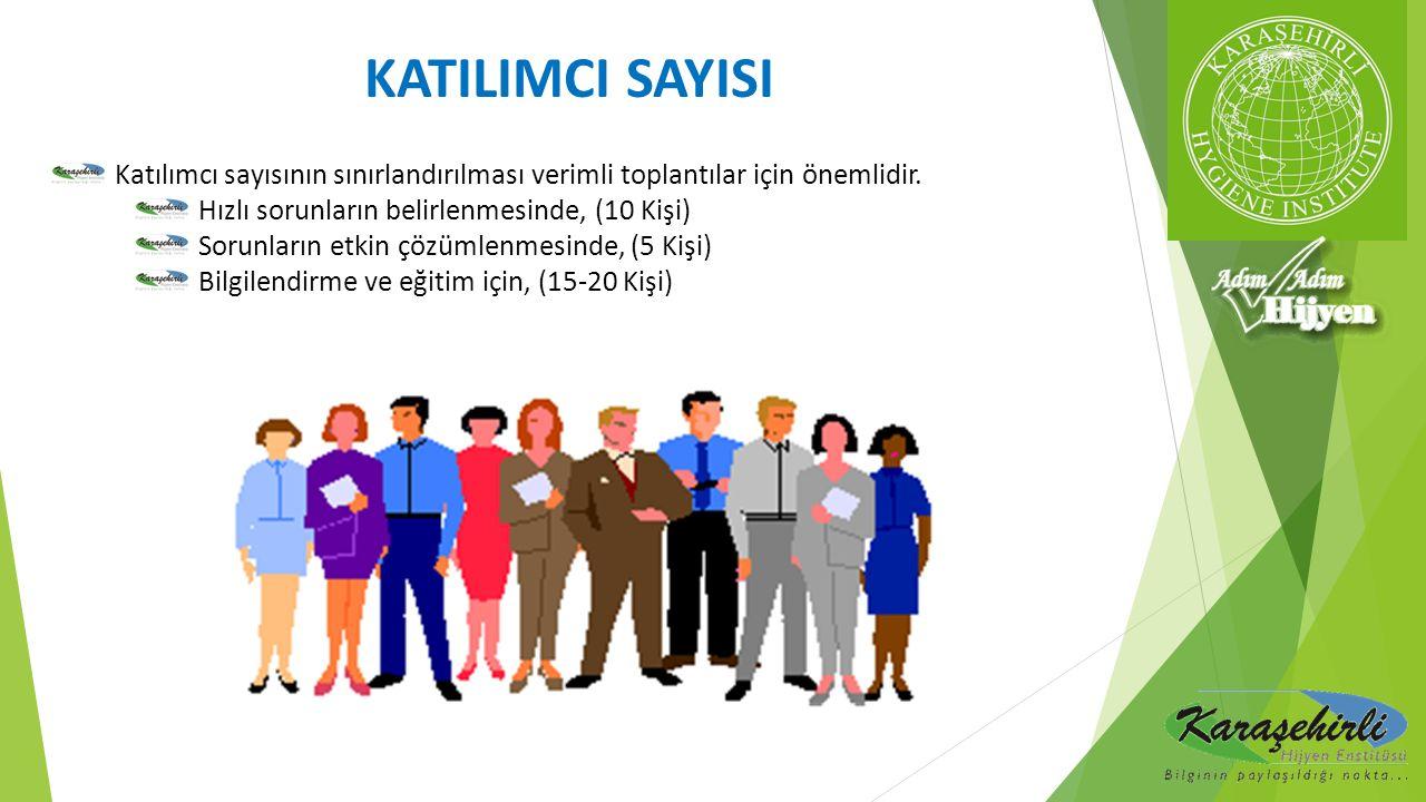 KATILIMCI SAYISI Katılımcı sayısının sınırlandırılması verimli toplantılar için önemlidir. Hızlı sorunların belirlenmesinde, (10 Kişi)