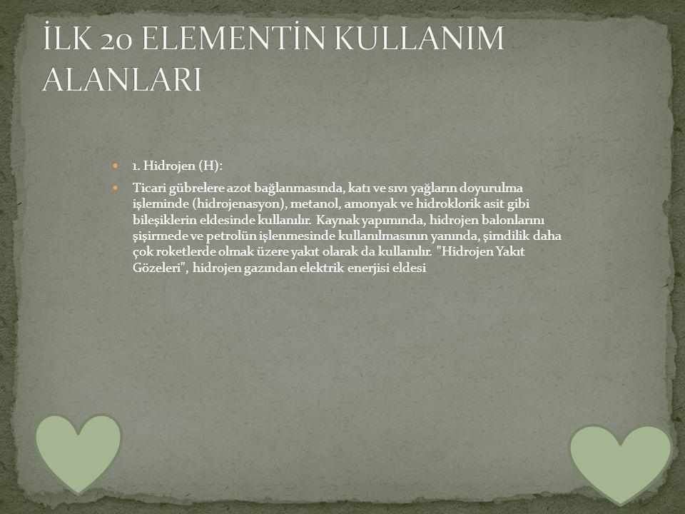 İLK 20 ELEMENTİN KULLANIM ALANLARI