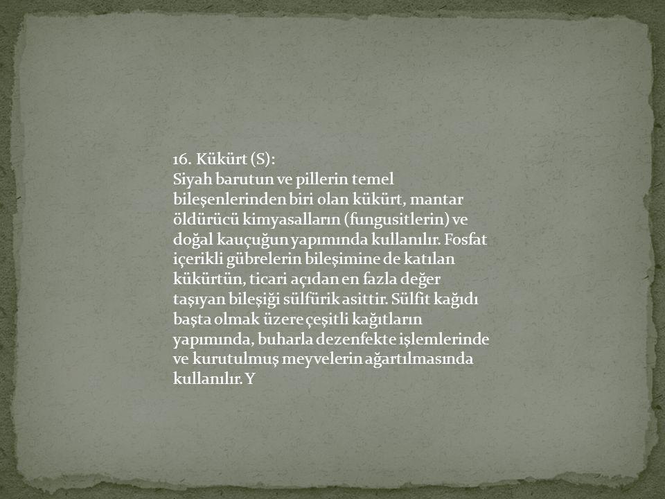 16. Kükürt (S):