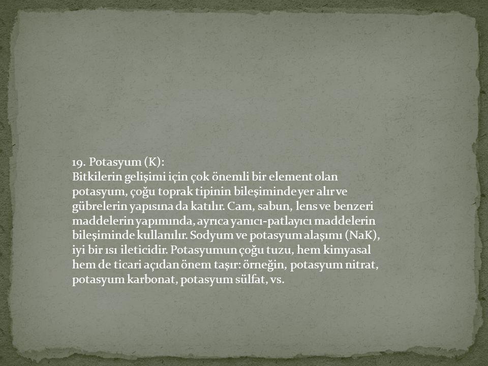 19. Potasyum (K):