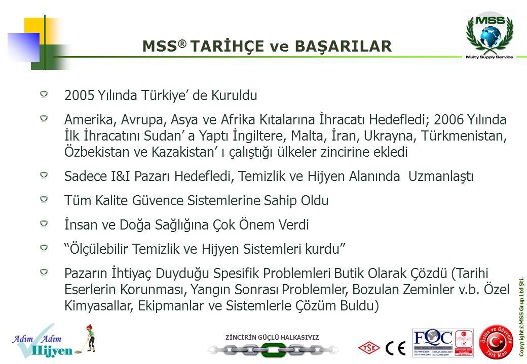 MSS® TARİHÇE ve BAŞARILAR Copyright©MSS Grup Ltd Şti.