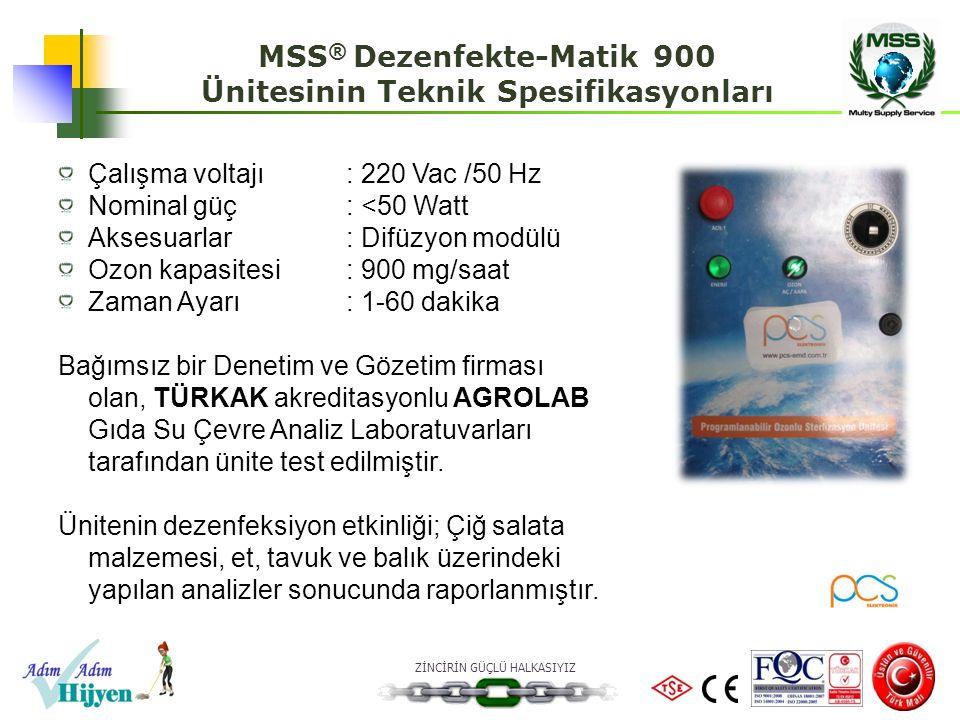 MSS® Dezenfekte-Matik 900 Ünitesinin Teknik Spesifikasyonları