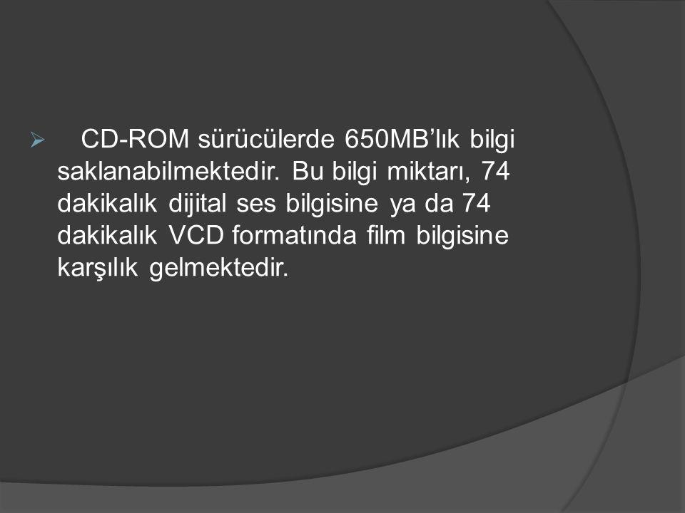 CD-ROM sürücülerde 650MB'lık bilgi saklanabilmektedir