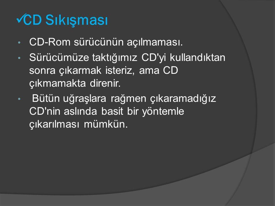 CD Sıkışması CD-Rom sürücünün açılmaması.