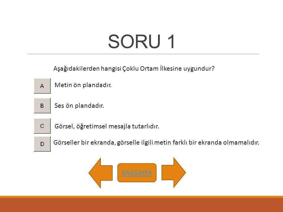 SORU 1 Aşağıdakilerden hangisi Çoklu Ortam İlkesine uygundur