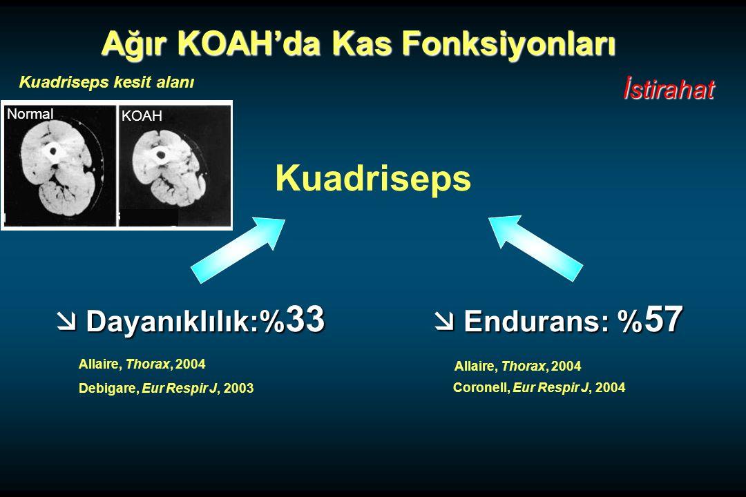 Kuadriseps Ağır KOAH'da Kas Fonksiyonları  Dayanıklılık:%33