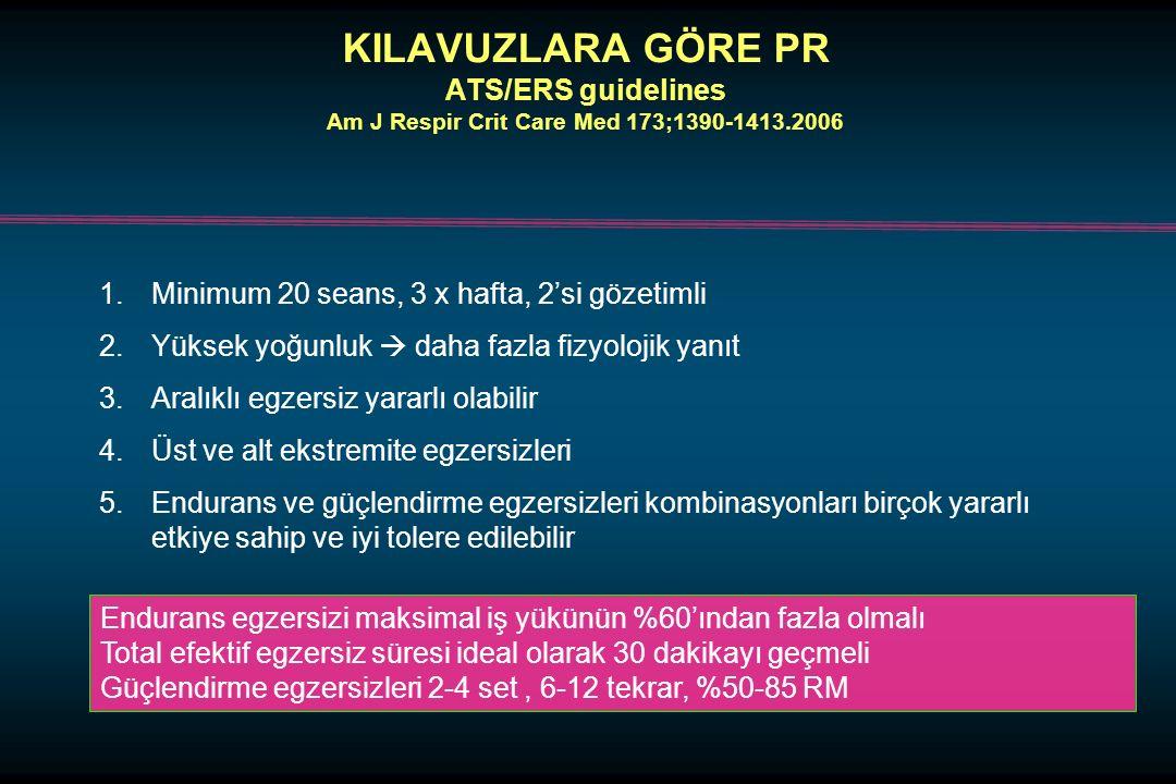 KILAVUZLARA GÖRE PR ATS/ERS guidelines Am J Respir Crit Care Med 173;1390-1413.2006