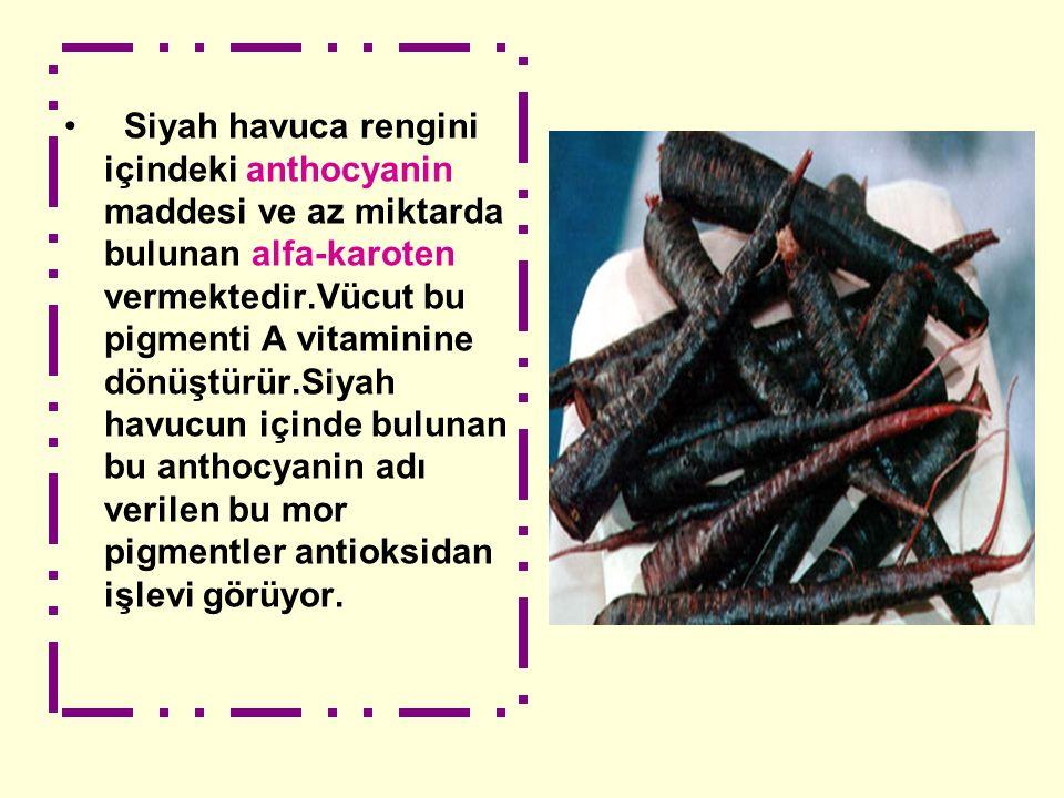Siyah havuca rengini içindeki anthocyanin maddesi ve az miktarda bulunan alfa-karoten vermektedir.Vücut bu pigmenti A vitaminine dönüştürür.Siyah havucun içinde bulunan bu anthocyanin adı verilen bu mor pigmentler antioksidan işlevi görüyor.
