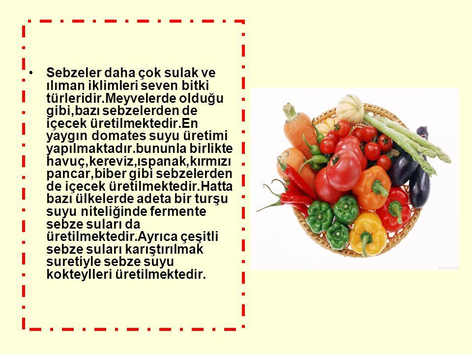 Sebzeler daha çok sulak ve ılıman iklimleri seven bitki türleridir