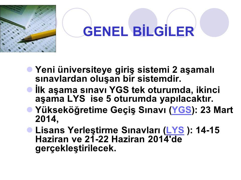 GENEL BİLGİLER Yeni üniversiteye giriş sistemi 2 aşamalı sınavlardan oluşan bir sistemdir.