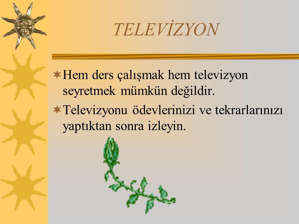 TELEVİZYON Hem ders çalışmak hem televizyon seyretmek mümkün değildir.