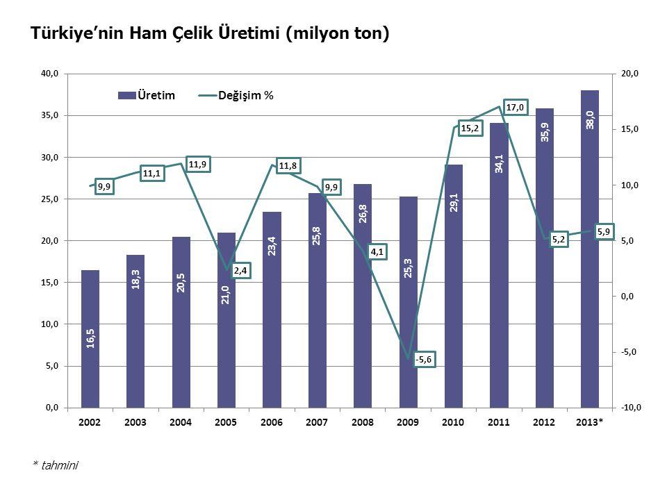 Türkiye'nin Ham Çelik Üretimi (milyon ton)