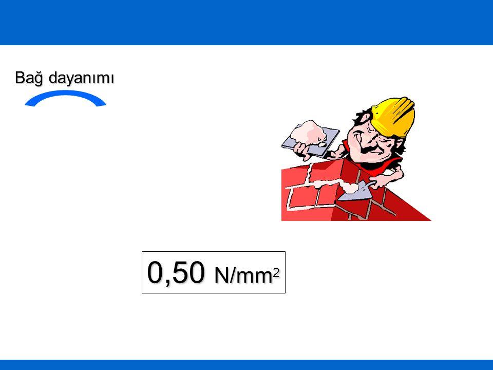 Bağ dayanımı 0,50 N/mm2