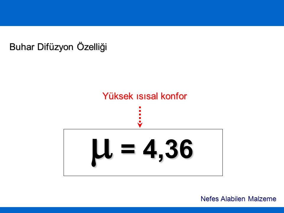 m = 4,36 Buhar Difüzyon Özelliği Yüksek ısısal konfor