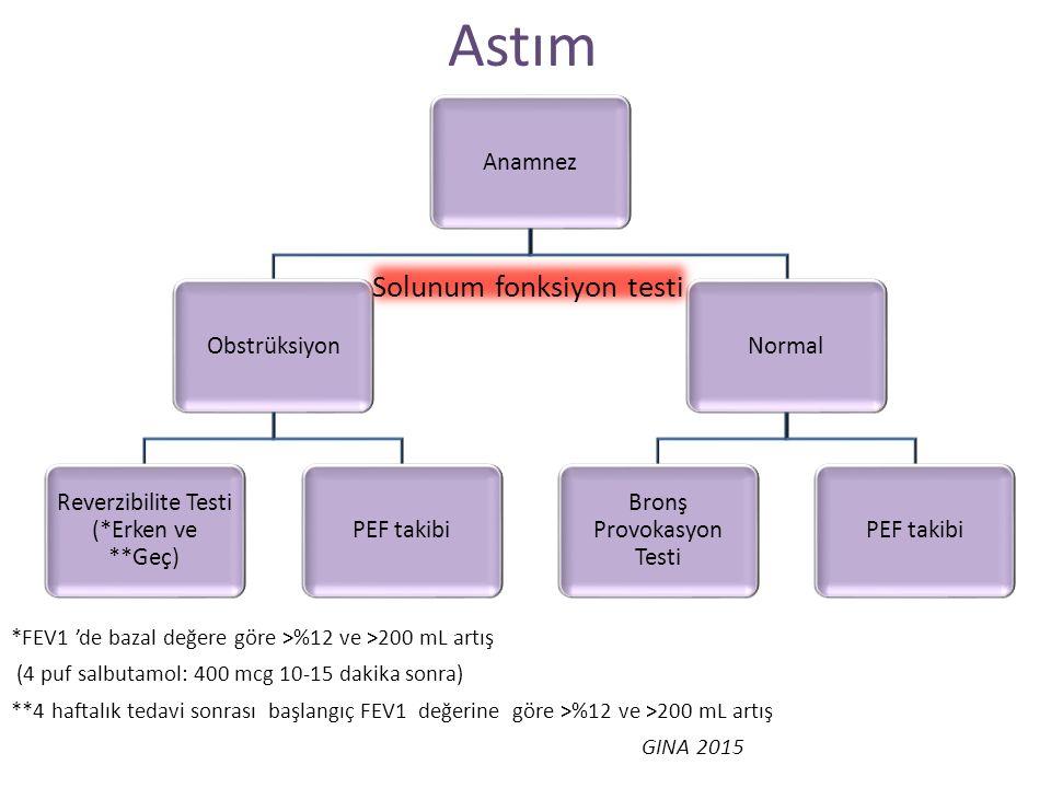Astım Solunum fonksiyon testi Anamnez Obstrüksiyon