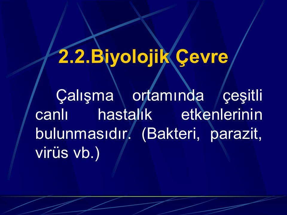 2.2.Biyolojik Çevre Çalışma ortamında çeşitli canlı hastalık etkenlerinin bulunmasıdır. (Bakteri, parazit, virüs vb.)