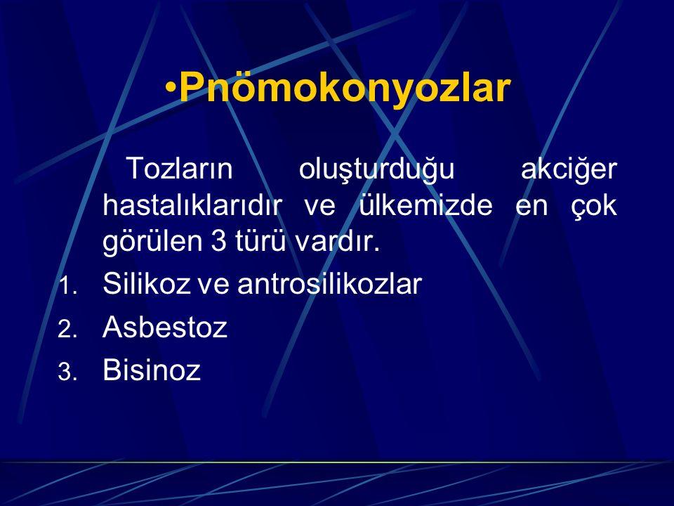 Pnömokonyozlar Tozların oluşturduğu akciğer hastalıklarıdır ve ülkemizde en çok görülen 3 türü vardır.