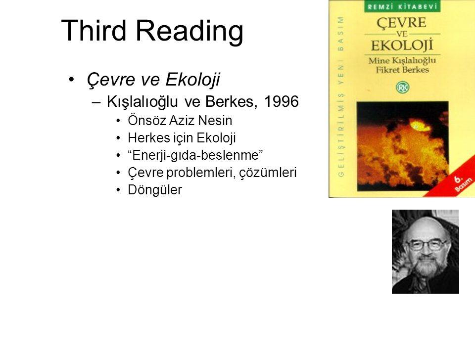 Third Reading Çevre ve Ekoloji Kışlalıoğlu ve Berkes, 1996