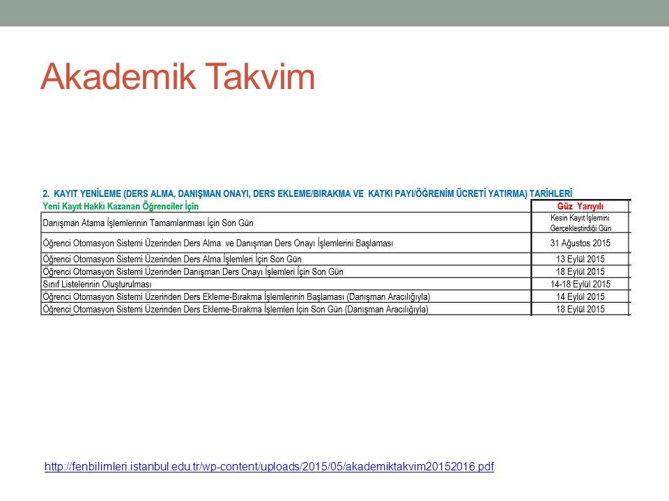 Akademik Takvim http://fenbilimleri.istanbul.edu.tr/wp-content/uploads/2015/05/akademiktakvim20152016.pdf.