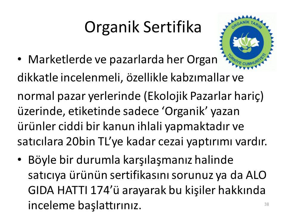 Organik Sertifika Marketlerde ve pazarlarda her Organik yazısı