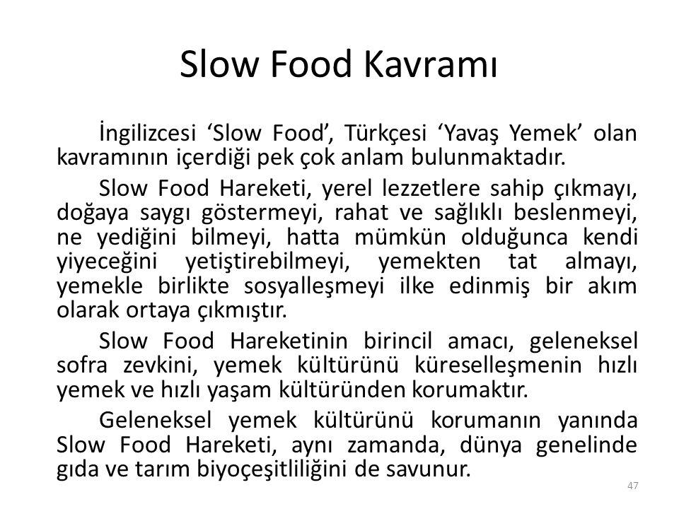 Slow Food Kavramı İngilizcesi 'Slow Food', Türkçesi 'Yavaş Yemek' olan kavramının içerdiği pek çok anlam bulunmaktadır.