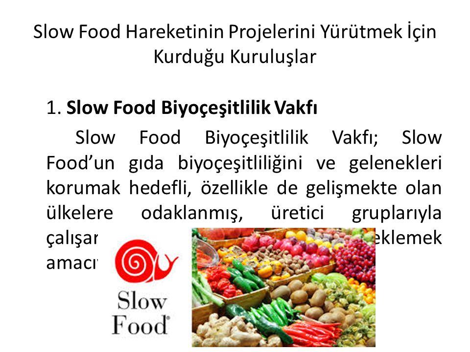 Slow Food Hareketinin Projelerini Yürütmek İçin Kurduğu Kuruluşlar