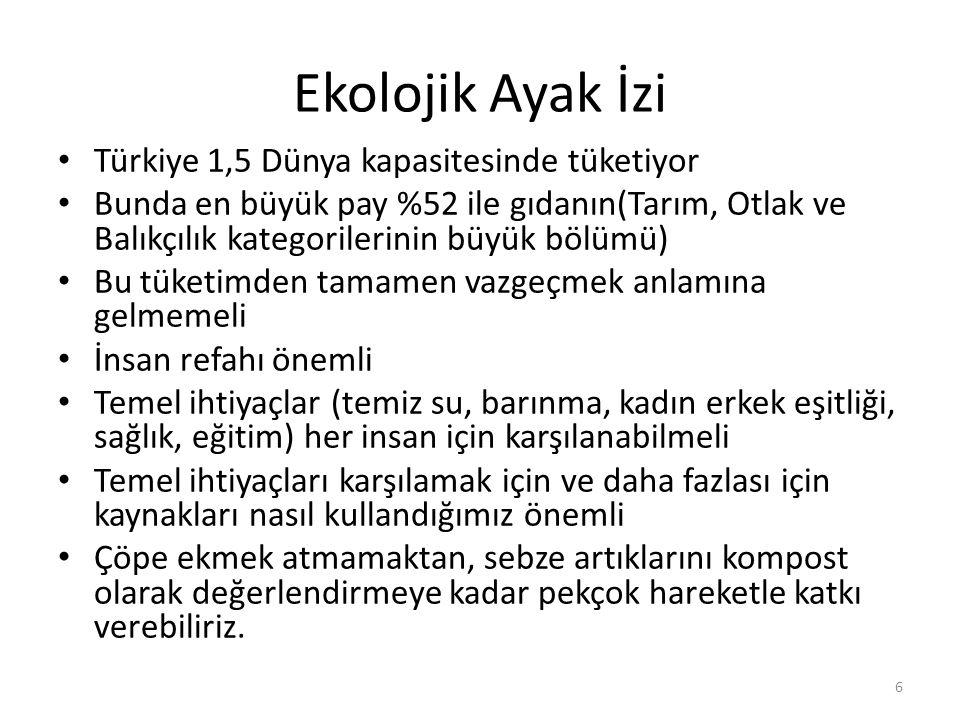 Ekolojik Ayak İzi Türkiye 1,5 Dünya kapasitesinde tüketiyor