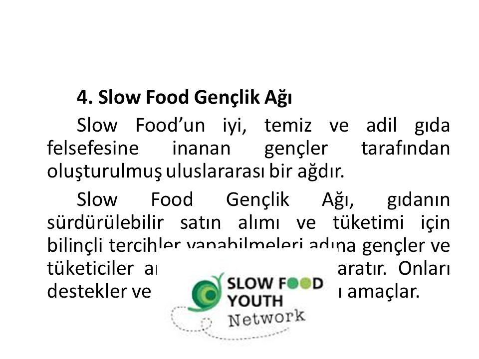 61 4. Slow Food Gençlik Ağı. Slow Food'un iyi, temiz ve adil gıda felsefesine inanan gençler tarafından oluşturulmuş uluslararası bir ağdır.