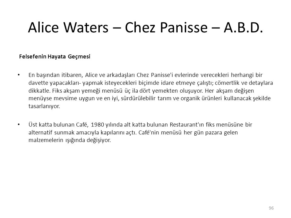 Alice Waters – Chez Panisse – A.B.D.