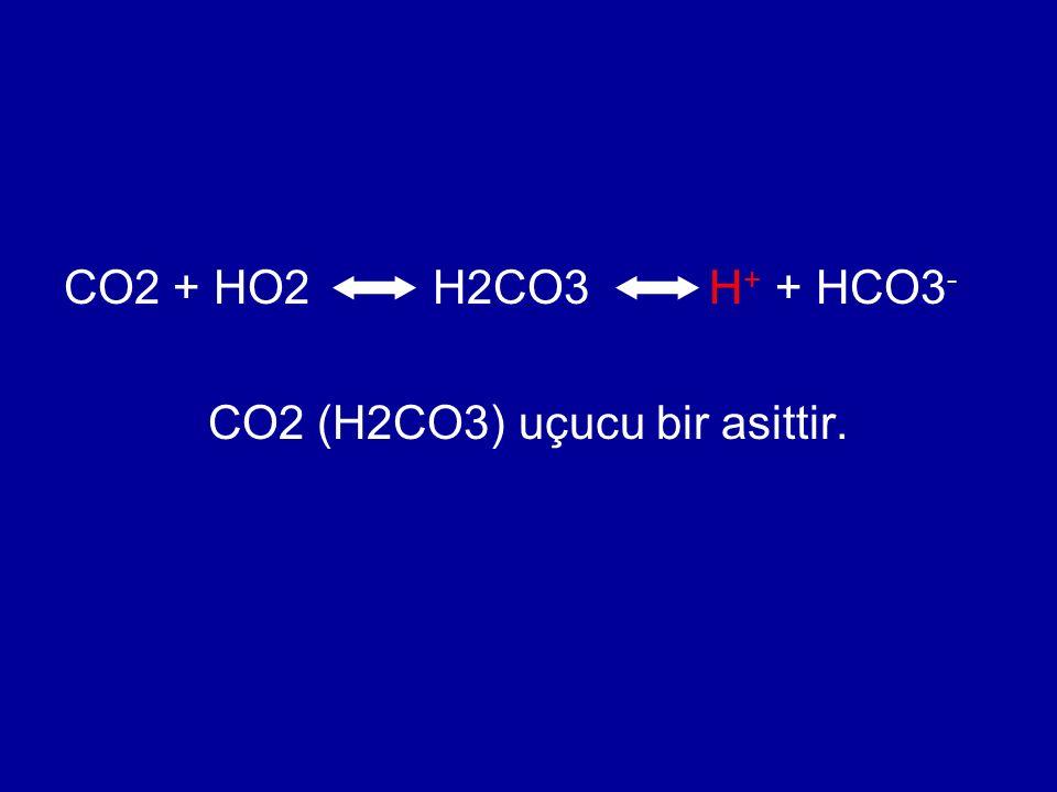 CO2 (H2CO3) uçucu bir asittir.