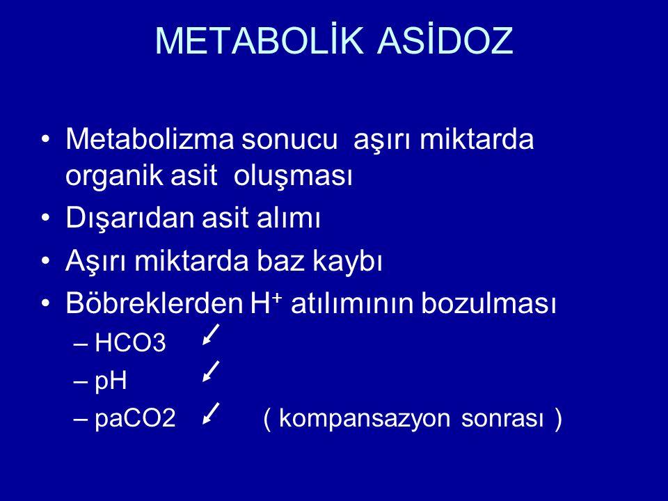 METABOLİK ASİDOZ Metabolizma sonucu aşırı miktarda organik asit oluşması. Dışarıdan asit alımı.