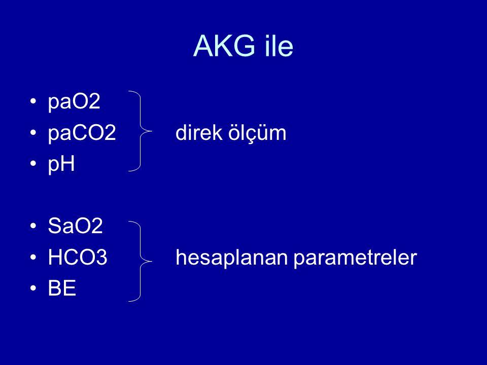 AKG ile paO2 paCO2 direk ölçüm pH SaO2 HCO3 hesaplanan parametreler BE