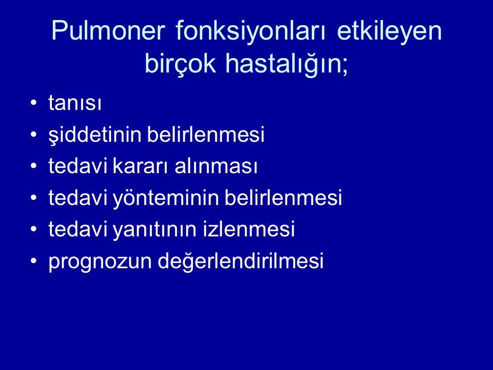 Pulmoner fonksiyonları etkileyen birçok hastalığın;
