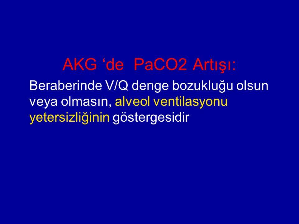 AKG 'de PaCO2 Artışı: Beraberinde V/Q denge bozukluğu olsun veya olmasın, alveol ventilasyonu yetersizliğinin göstergesidir.