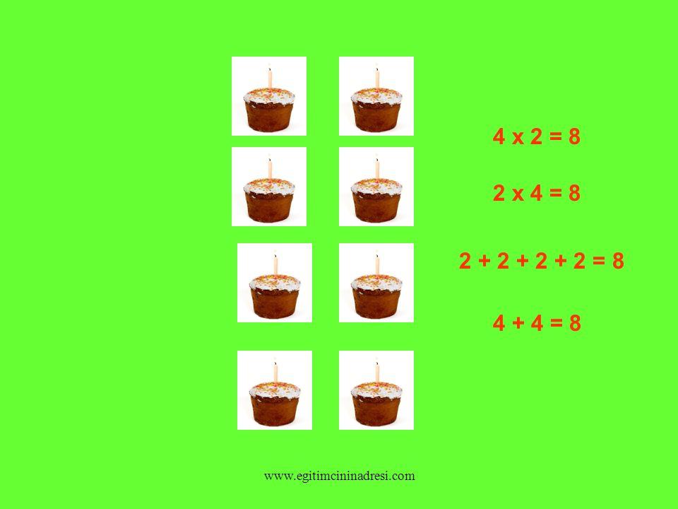 4 x 2 = 8 2 x 4 = 8 2 + 2 + 2 + 2 = 8 4 + 4 = 8 www.egitimcininadresi.com