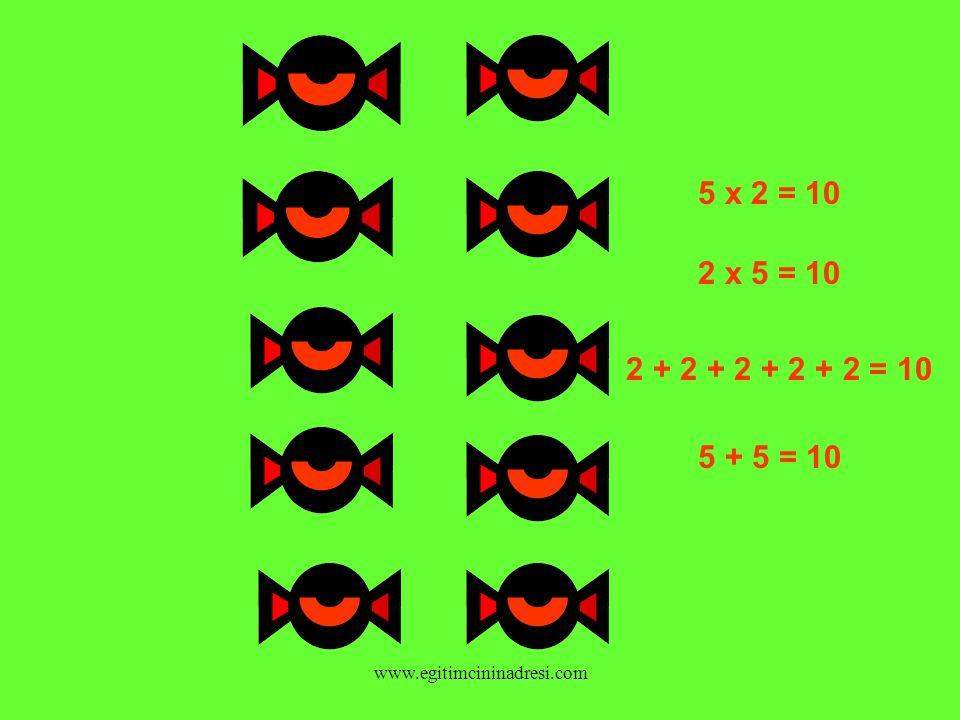 5 x 2 = 10 2 x 5 = 10 2 + 2 + 2 + 2 + 2 = 10 5 + 5 = 10 www.egitimcininadresi.com