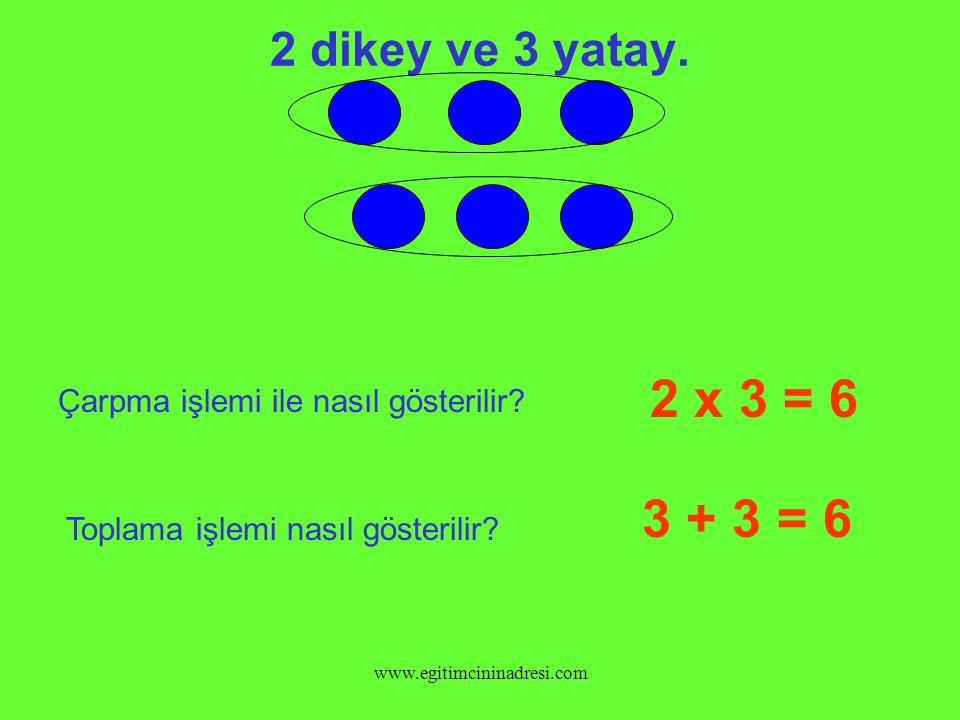 2 dikey ve 3 yatay. 2 x 3 = 6. Çarpma işlemi ile nasıl gösterilir 3 + 3 = 6. Toplama işlemi nasıl gösterilir