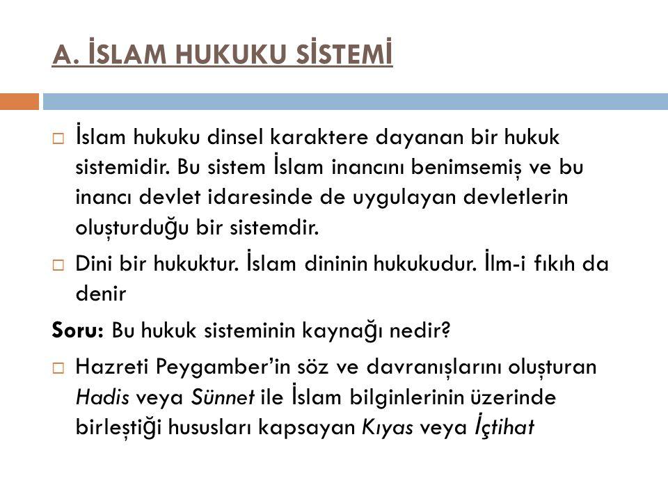 A. İSLAM HUKUKU SİSTEMİ