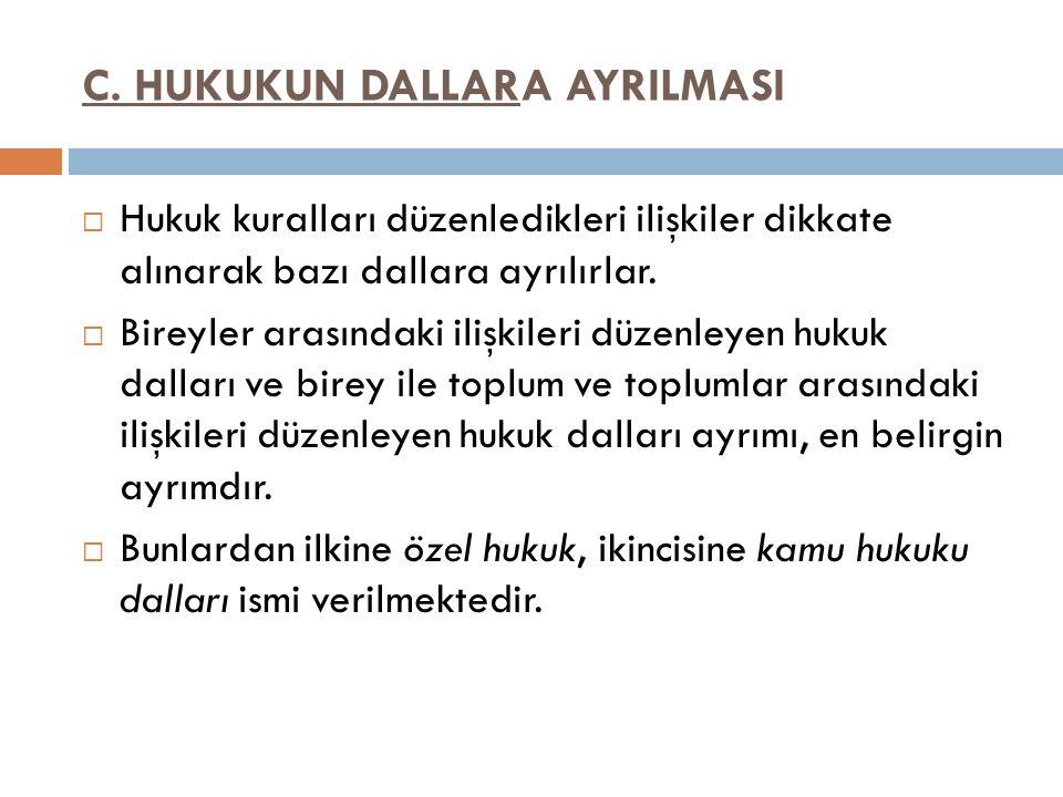 C. HUKUKUN DALLARA AYRILMASI