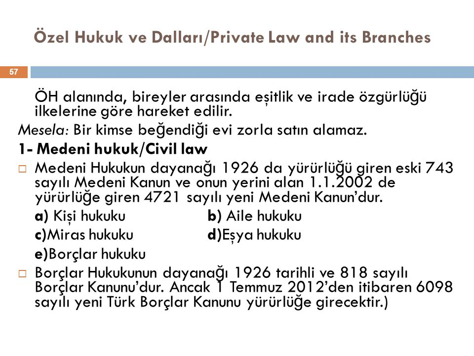Özel Hukuk ve Dalları/Private Law and its Branches