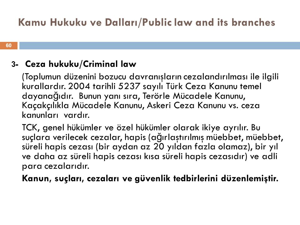 Kamu Hukuku ve Dalları/Public law and its branches