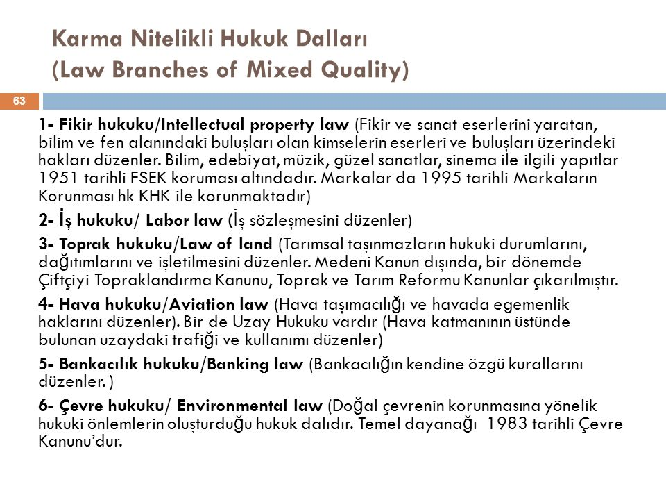 Karma Nitelikli Hukuk Dalları (Law Branches of Mixed Quality)