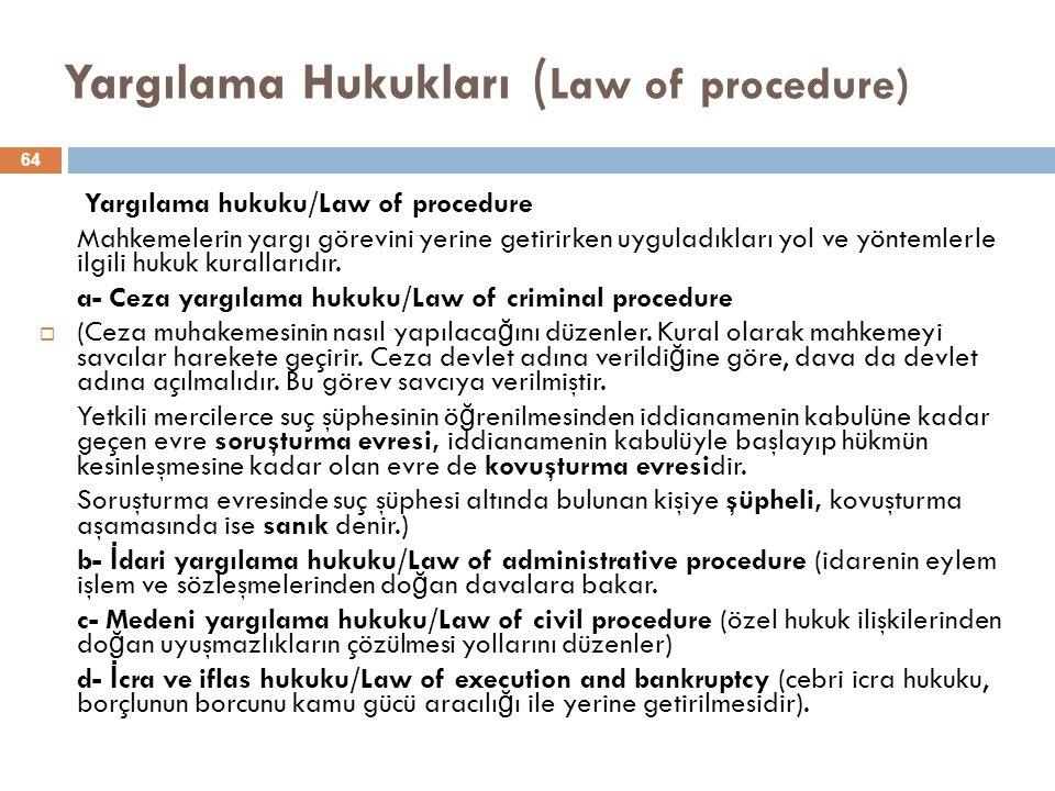 Yargılama Hukukları (Law of procedure)