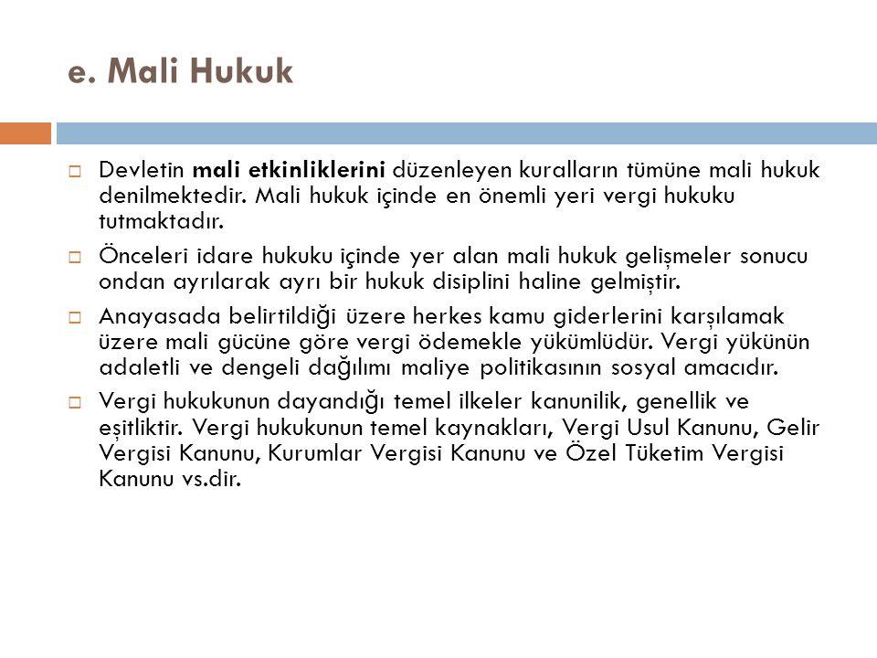 e. Mali Hukuk