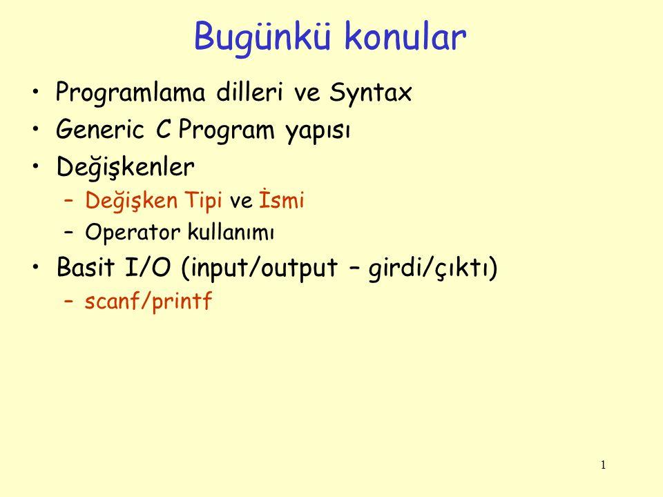 Bugünkü konular Programlama dilleri ve Syntax Generic C Program yapısı