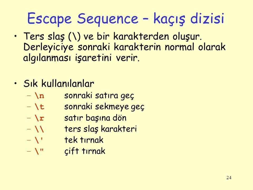 Escape Sequence – kaçış dizisi